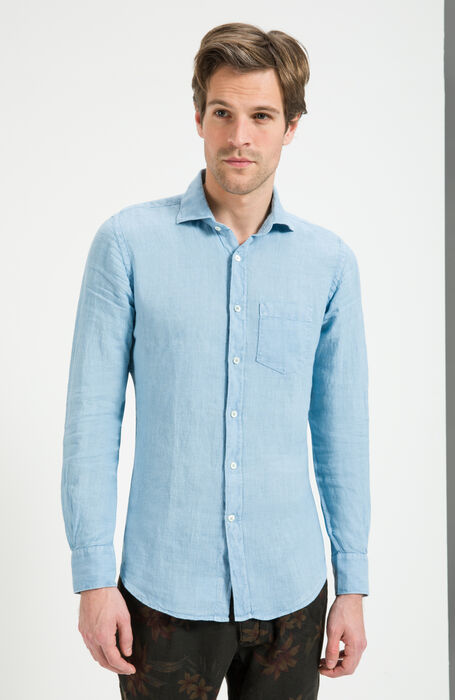 Sky Blue Slim Fit Garment-Dyed Natural Linen Shirt , Glanshirt | Slowear
