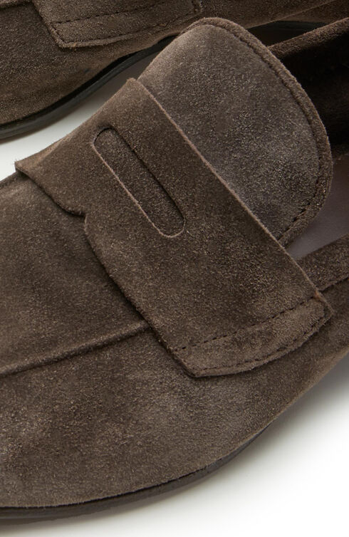 Loafers in brown suede calfskin , Officina Slowear | Slowear