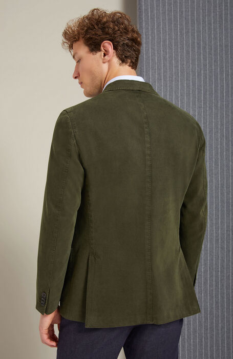 Single-breasted unlined jacket in drill cotton and dark green cashmere , Montedoro | Slowear