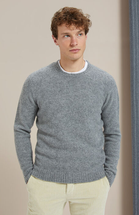 Crewneck sweater in brushed grey Lambswoool with natural fibre , Zanone | Slowear