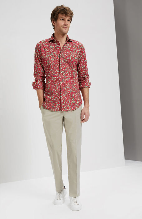 Slim Fit Floral Print Cotton Shirt with Cutaway Collar , Glanshirt | Slowear