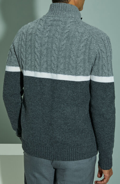 Lambswool Chioto sweater with colour block motif , Zanone | Slowear