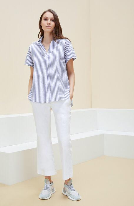 Short-sleeved shirt with asymmetrical opening in striped seersucker cotton , Glanshirt | Slowear