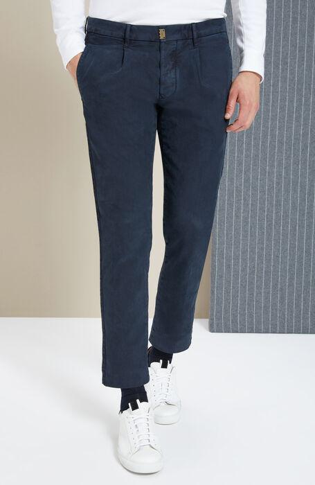 Blue slim-fit stretch cotton trousers , Incotex - Slacks   Slowear