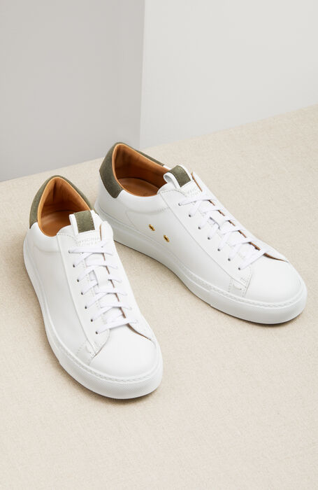 Leather trainers with light green suede details , Officina Slowear | Slowear