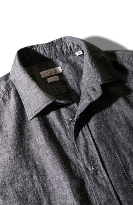 Regular fit shirt with classic collar in black cotton chambray , Glanshirt | Slowear
