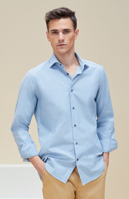 Light blue slim fit chambray cotton shirt with French collar , Glanshirt | Slowear