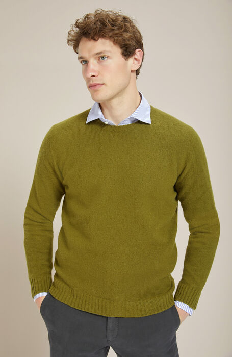 Crewneck sweater in brushed olive green Lambswool with natural fibre , Zanone | Slowear