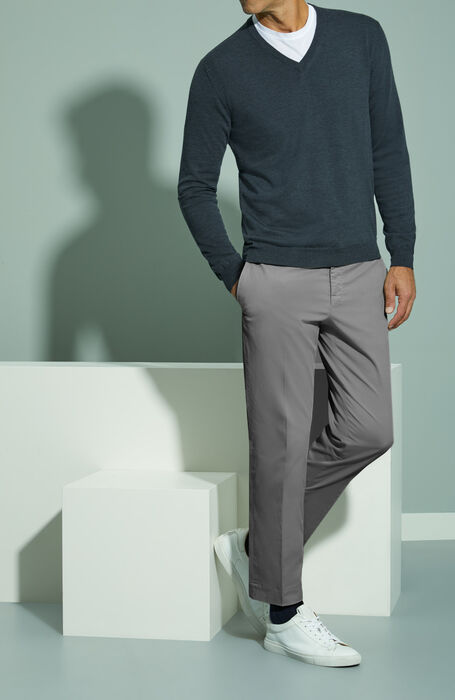 Grey Royal Batavia stretch cotton slim fit trousers , Incotex - Venezia 1951 | Slowear