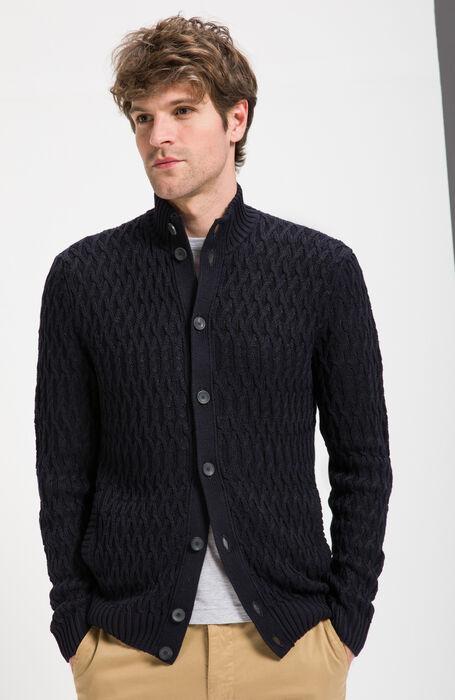 Blue Woven Linen Cotton Chioto Cardigan , Zanone | Slowear