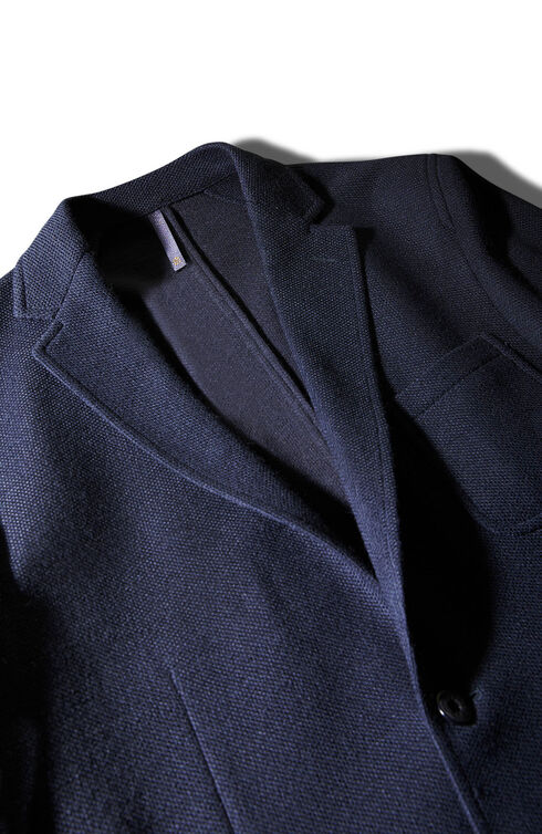 Single-breasted unlined hopsack jersey jacket with two buttons , Montedoro | Slowear
