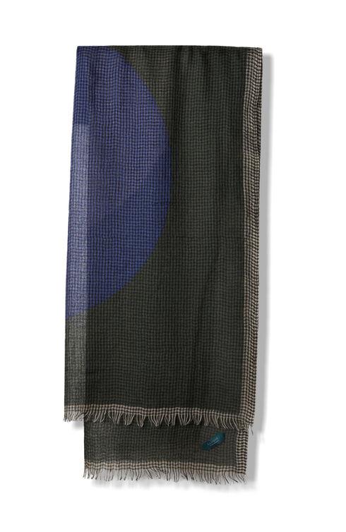 Green check pattern wool, cashmere and silk scarf , Zanone | Slowear