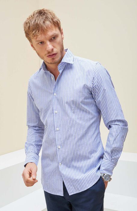 Medium Blue Slim Fit Striped Cotton Shirt with Cutaway Collar , Glanshirt | Slowear