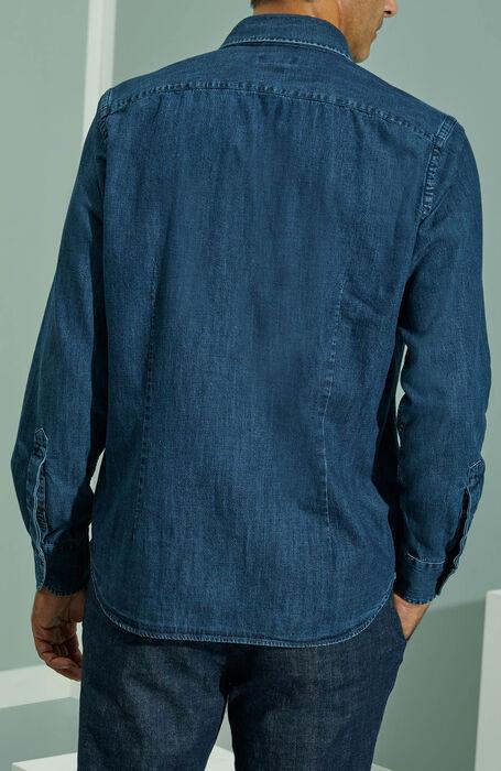 Regular fit denim cotton shirt with classic collar , Indigo Chino | Slowear