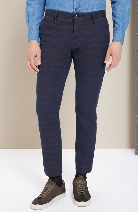 Slim-fit blue stretch Prince of Wales cotton trousers , Incotex - Slacks | Slowear