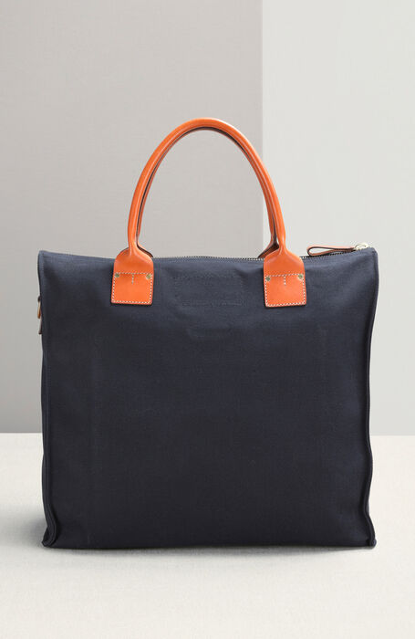 Work bag in cotton canvas with leather details , Officina Slowear   Slowear