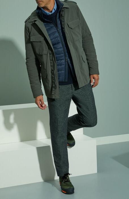 Tapered fit dark green cheviot wool trousers with drawstring , Incotex - Slacks | Slowear