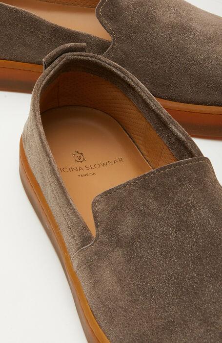Espadrilles in suede calfskin with a beige rubber sole , Officina Slowear   Slowear