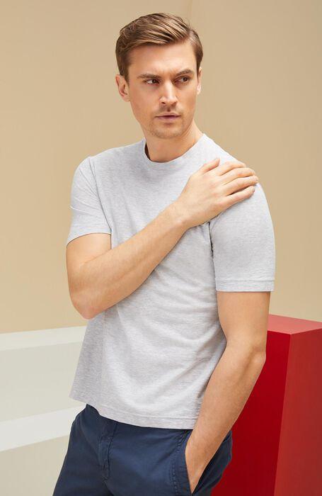 T-shirt a manica corta in IceCotton fil-a-fil grigia , Zanone | Slowear