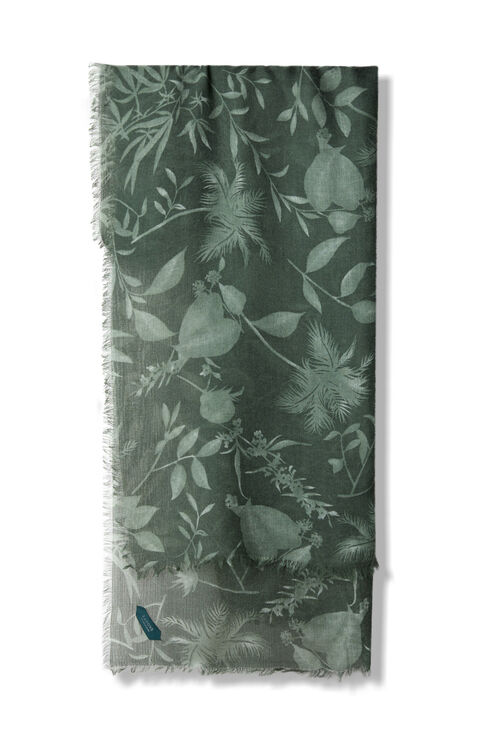 Green floral pattern wool, cashmere and silk scarf , Zanone | Slowear
