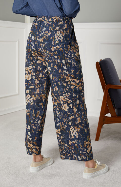 Wide fit trousers with elastic waist in linen and cotton with floral print , Slowear Incotex | Slowear