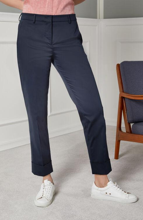Regular fit cotton stretch satin trousers , Slowear Incotex | Slowear