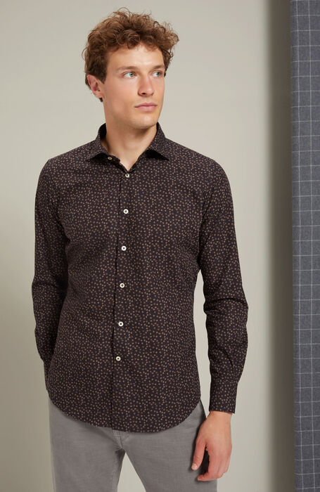 Slim-fit French-neck cotton shirt with Japanese print , Glanshirt | Slowear