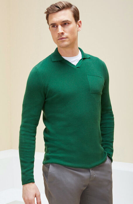Green long sleeve polo , Urban Traveler | Slowear