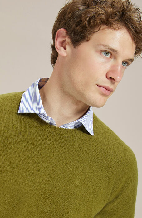 Olive green crewneck sweater in lambswool carded with natural fibres , Zanone | Slowear
