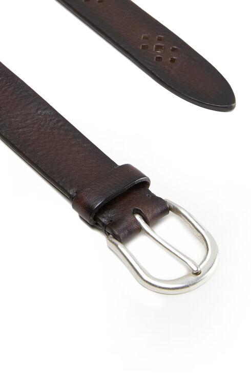 Decorated brown calfskin belt , Officina Slowear   Slowear