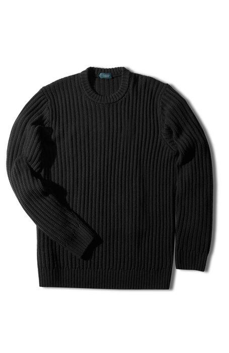 Black merino wool crewneck sweater with row-interlaced stitching , Zanone | Slowear
