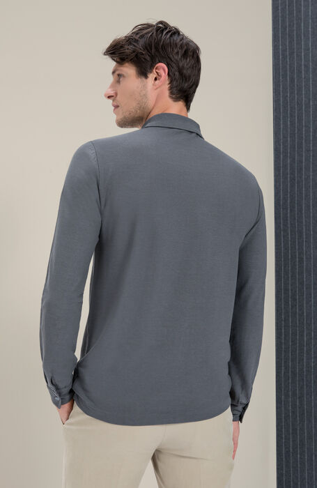 Grey long-sleeved IceCotton polo shirt , Zanone | Slowear