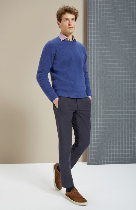 Blue crewneck sweater in lambswool carded with natural fibres , Zanone | Slowear