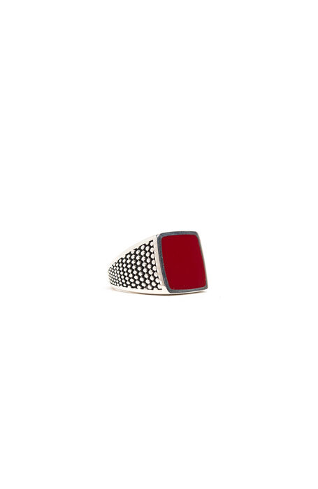 Silver ring with red lacquer , Emporio Slowear | Slowear
