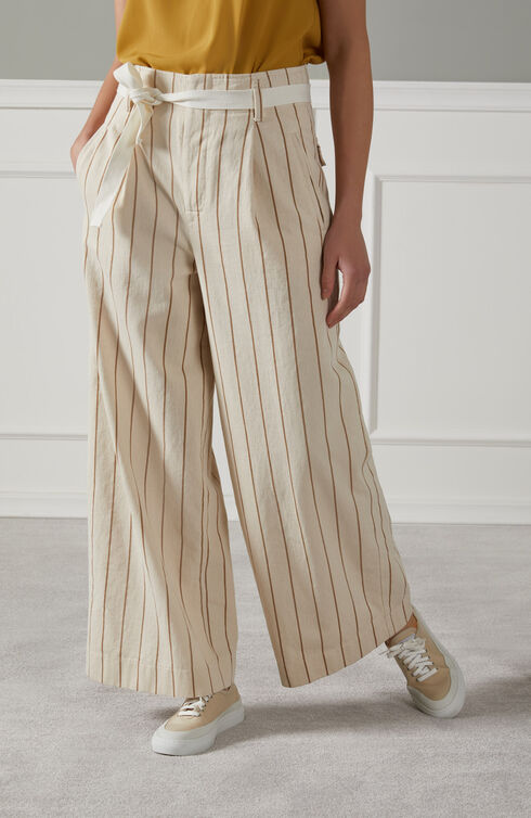 Wide fit high-waisted trousers with pure cotton striped drill ribbon belt , Slowear Incotex | Slowear