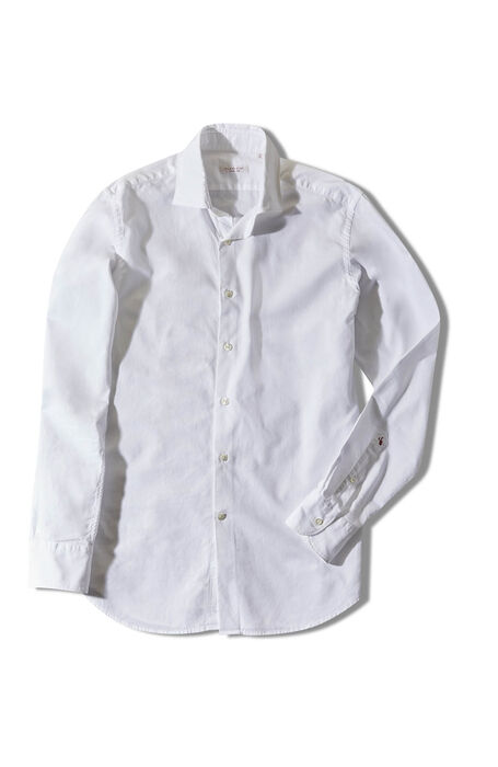 White Slim Fit Oxford Shirt with French Collar , Glanshirt | Slowear