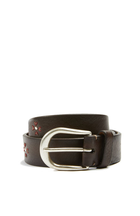 Calf leather belt with floral embroidery , Officina Slowear | Slowear