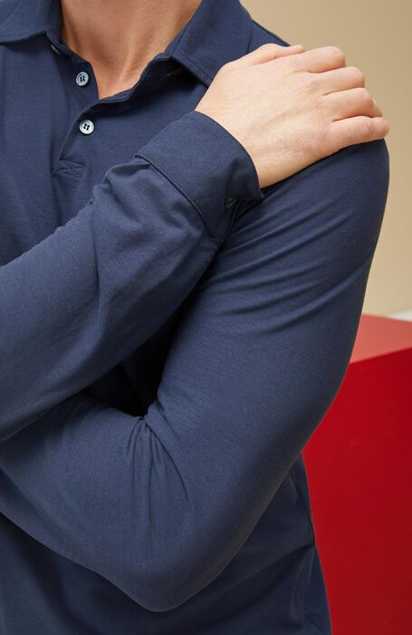 Polo manica lunga in IceCotton blu , Zanone | Slowear