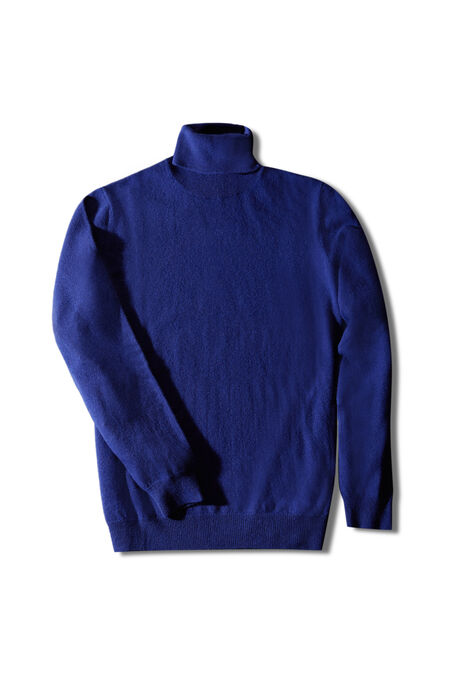 Cornflower blue wool and cashmere turtleneck , Zanone   Slowear