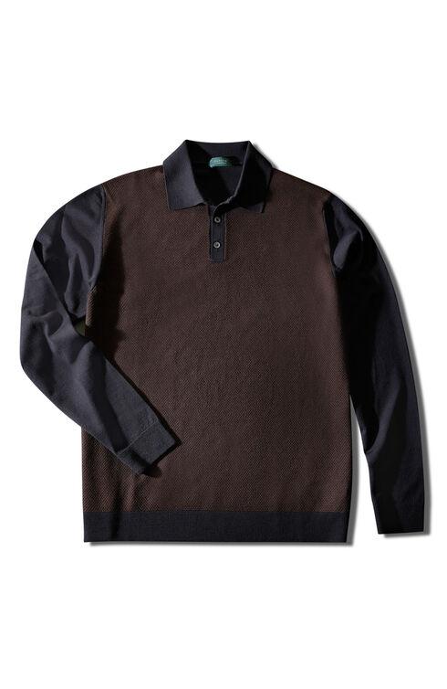Long-sleeved Flexwool polo shirt with two-tone honeycomb stitching , ZANONE Flexwool | Slowear