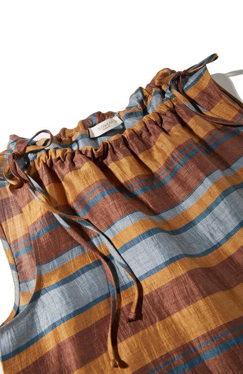 Sleeveless blouse with boat neckline in striped linen blend , Slowear Glanshirt | Slowear
