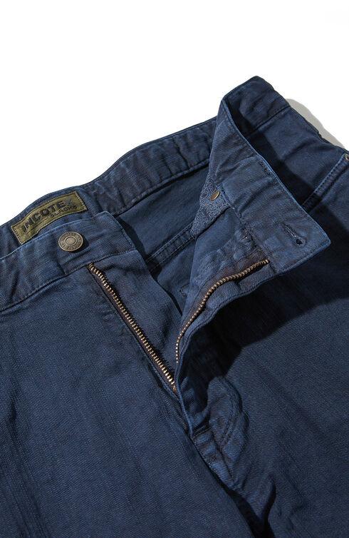 Slim fit five-pocket stretch cotton bull trousers , Indigochino | Slowear