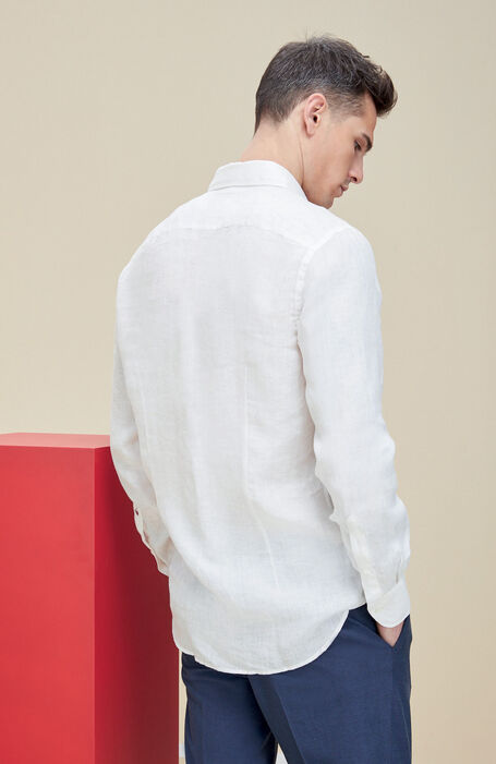 White linen slim fit cotton shirt with French collar , Glanshirt | Slowear
