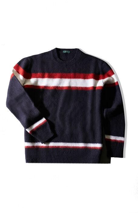 Blue striped crewneck sweater in cloud effect lambswool , Zanone | Slowear