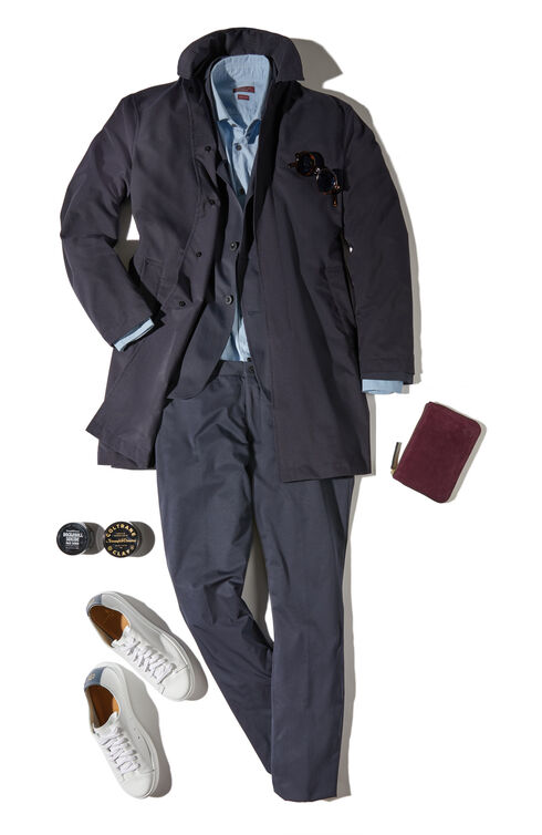 Trench coat in water repellent Tech Mesh fabric , Slowear Teknosartorial | Slowear