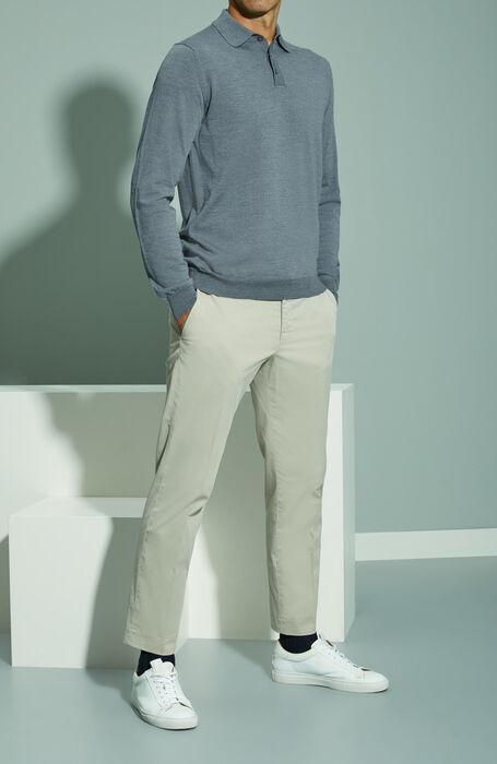 Grey Flexwool long-sleeved polo shirt , Zanone | Slowear