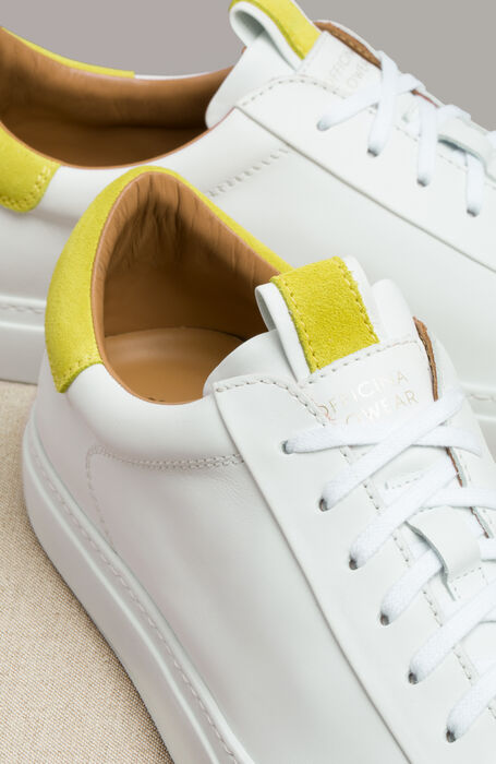 Leather trainers with yellow suede details , Officina Slowear | Slowear
