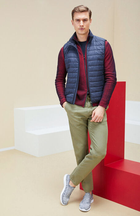 Blue padded vest with zip closure , Urban Traveler | Slowear