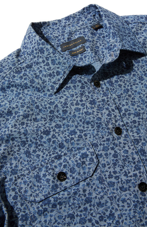 Printed linen and cotton slim-fit shirt with French collar , Indigochino | Slowear