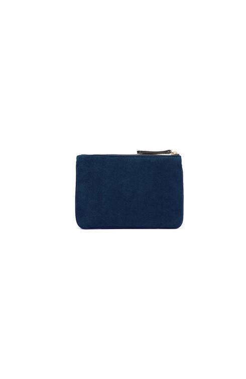 Suede document holder with dark blue leather details , Officina Slowear | Slowear